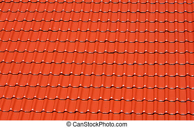background made of bright red roofing tiles - abstract...