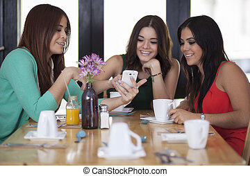 Cute girls hanging out - Beautiful female friends having fun...