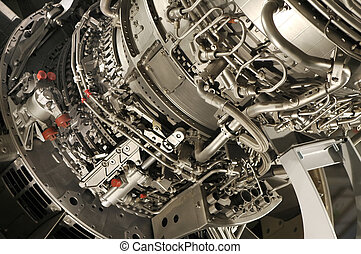 jet engine - large jet engine detail viewed from underneath