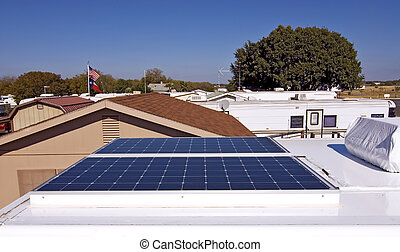 Solar Power for Your RV - Wide angle view of solar panels...