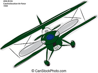 Avia B534 Biplane Sketch - Sketch of Avia B534 World War II...