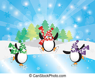 Three Penguins Ice Skating in Winter Scene Illustration -...