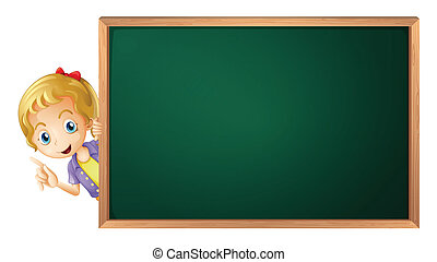 a girl and a green board - illustration of a girl and a...