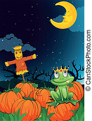 a scarecrow and frog - illustration of a scarecrow and frog...