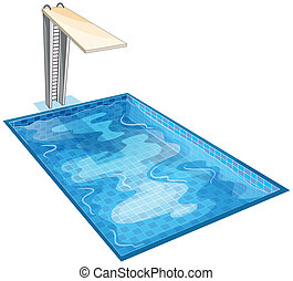 swiming pool - illustration of a swiming pool on a white...