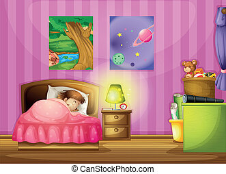 a girl and a bedroom - illustration of a girl and a...