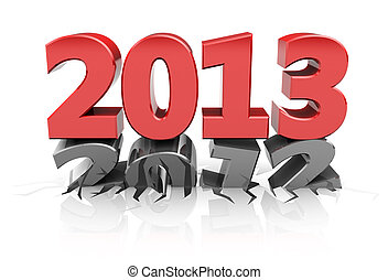 Next year - Red 2013 dent number 2012, new year concept