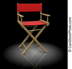 director chair - 3d illustration of director chair, red...