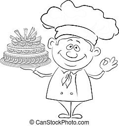 Cook with holiday cake, contour - Cartoon cook - chef with...