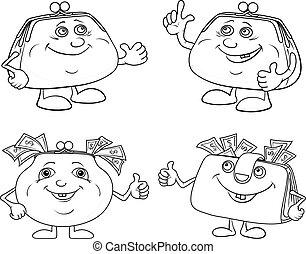 Set cartoon smiling purses outline