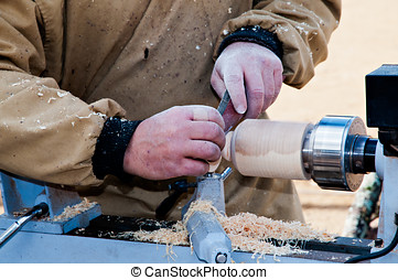 Carpenter working on traditional fair