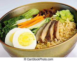 Ramen & Vegetables - Ramen soup with hard boiled egg,...