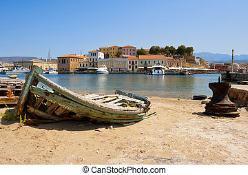 Chania Crete Greece - Old fishing boat in harbour of Chania...