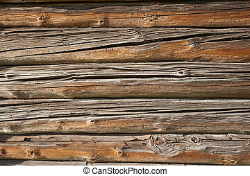 Old wooden wall - Old log cabin exterior wall