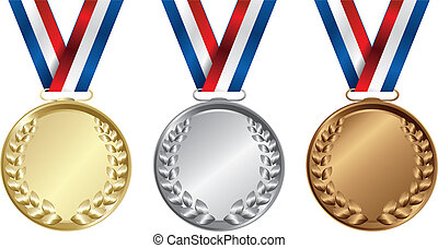 Three medals, Gold, Silver and bronze for the winners -...