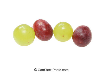 White and red grapes isolated on white
