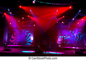Lights on Stage - Bright and colorful lights on musical...