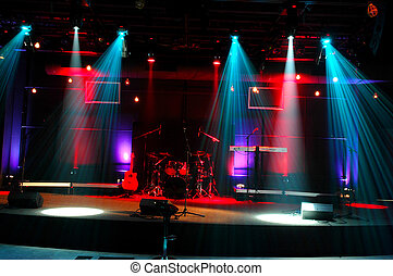 Stage Lights - Stage with red and blue lights and musical...