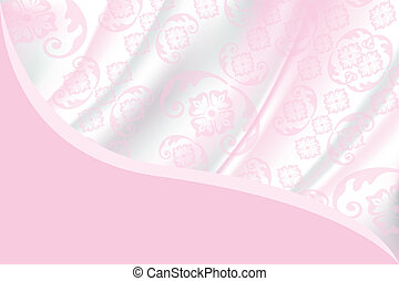 Card template with fabric pattern in light pink