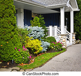 Garden and home entrance - Front entrance of house with...