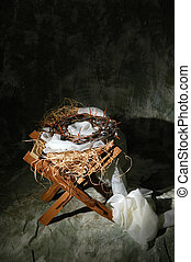 Manger With Crown of Thorns - The birth and death of Christ...