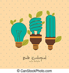 vintage bulbs - Illustration of eco bulb surrounded by...