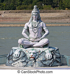 Shiva statue in Rishikesh, India - Shiva, hindu idol on the...