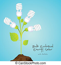 energy saving - Plant producing energy saving bulbs, vector...