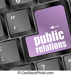 computer keyboard with public relations pr button
