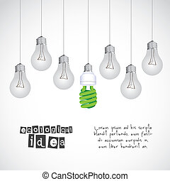 energy saving - Illustration ecological, normal bulbs...