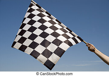 Checkered flag. - Auto racing checkered flag on a background...