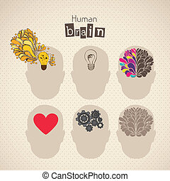 brain icons - Illustration of silhouette of man with brain,...