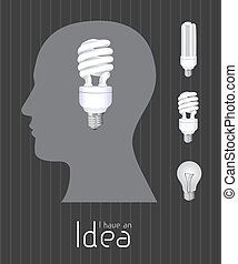 idea icon - Silhouette of man with bulb representing an...