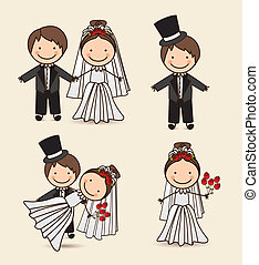 kids icons - Illustration of wedding couple with wedding...
