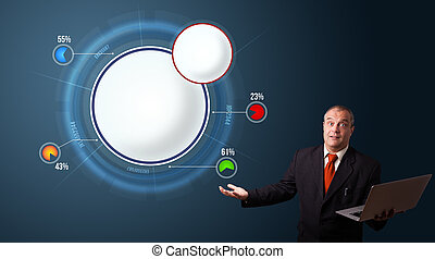 businessman in suit holding a laptop and presenting abstract modern pie chart with copy space