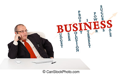 businessman sitting at desk and making phone call with word cloud, isolated on white