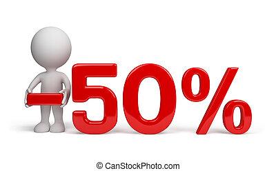50 percent discount - 3d person advertises 50 percent...