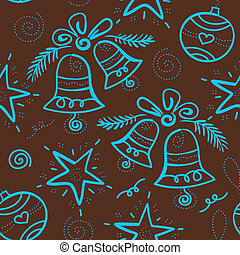 Christmas seamless pattern with snowflake, bell, star,...