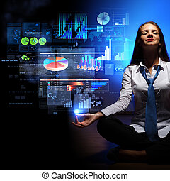 Business woman with financial symbols around - Businesswoman...