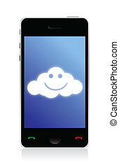 phone connected to a happy cloud