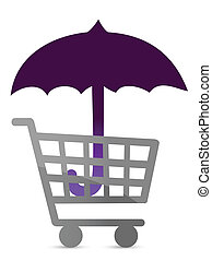 shopping protected by an umbrella illustration design
