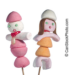 Candy people - A male and a female figurin made out of...
