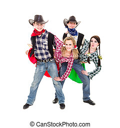 Smiling cowboys and cowgirls dancing against isolated white...