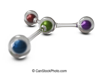glass balls connected together with color spheres inside, 3d...
