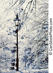 Lamppost in the winter park covered with white snow