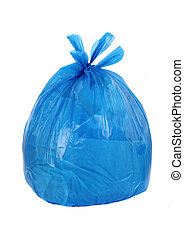 blue garbage bag isolated on a white background