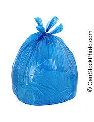 azul, basura, aislado, bolsa, Plano de fondo, blanco