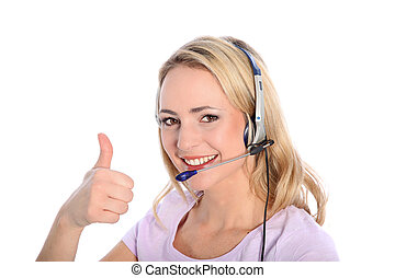Happy young call operator or receptionist - Happy young...