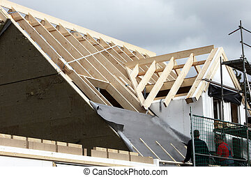 Getting the roof on - Construction of a new roof in...