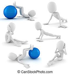3D, homem, aeróbico, treinamento
